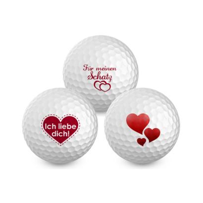 Für Verliebte - Liebesgolfbälle - inkl. Geschenkverpackung für 3 Golfbälle