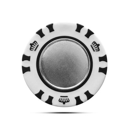 Pokerchip Krone mit magnetischem Metall Ballmarker Individuell Bedruckt Schwarz