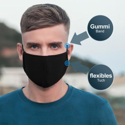 Mehrweg Stoffmaske Nasen- und Mundschutz aus Polyester - schwarz