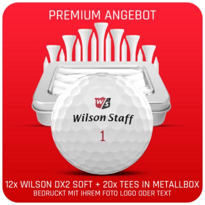 Wilson Staff DUO Soft + Golfbälle 12er Pack + 20er Tin of Tees - Individuell bedruckt