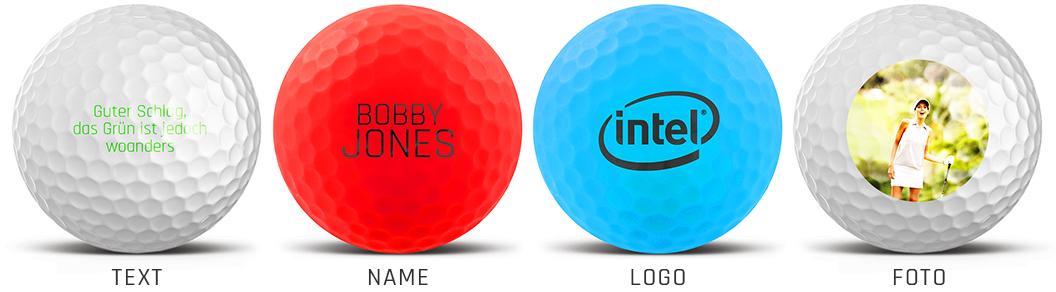 Bedruckte Golfbälle - Foto, Logo, Name, Spruch etc.